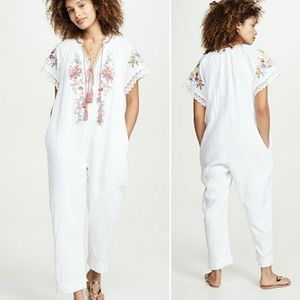 Farm Rio Embroidered Linen Jumpsuit NWT
